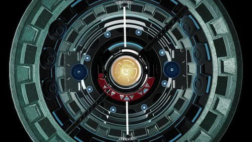 Animation 3D futuristic element. Round elements moving in a 3D circle