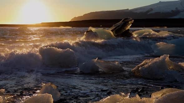 Thumbnail for Iceland Black Sand Beach Icebergs
