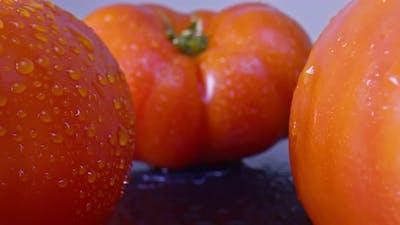 Tomatoes super close-up.