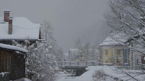 Snowfall in the village of Hallstatt