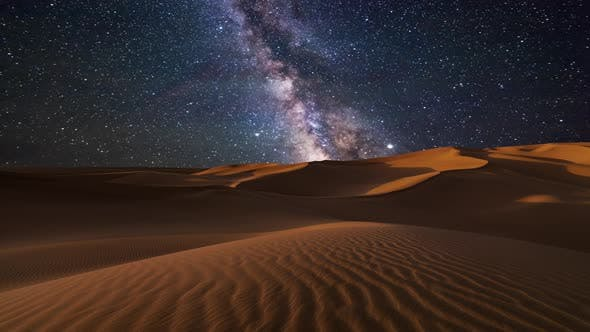Thumbnail for Amazing Views of the Desert Under the Night Starry Sky
