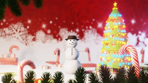 Christmas Greeting Card with Funny Snowman Waving