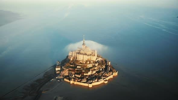 Thumbnail for Beautiful Aerial Shot of Majestic Sunrise Mont Saint Michel, Ancient Normandy Castle Island