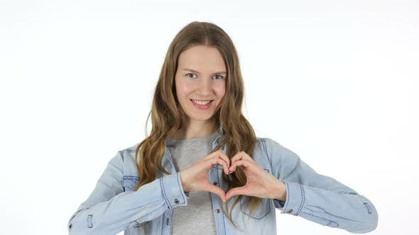 Heart Shape by Woman, White Background