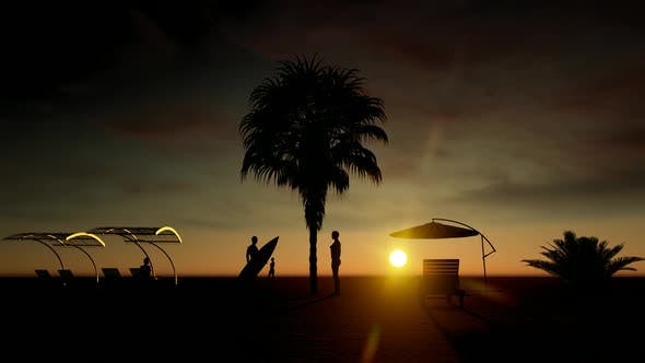 Sunset Beach and People