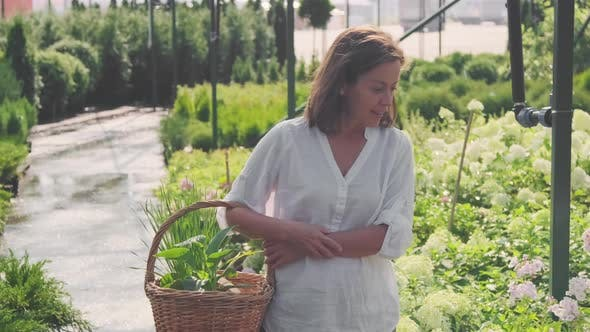 Female Gardener Walking Along Garden After Rain