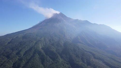 Scenic Aerial View of Mount Merapi in the Morning in Yogyakarta