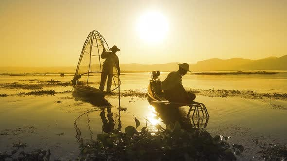 Thumbnail for Fishermen with Fishing Net at Inle Lake in Myanmar
