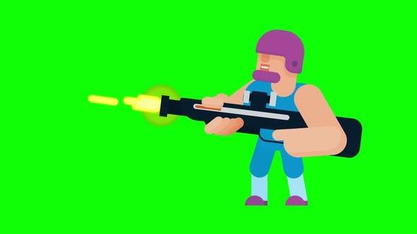 Animation of shooting game character.