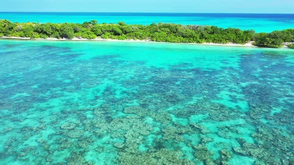 Thumbnail for Beautiful birds eye island view of a sandy white paradise beach and aqua blue water background in 4K