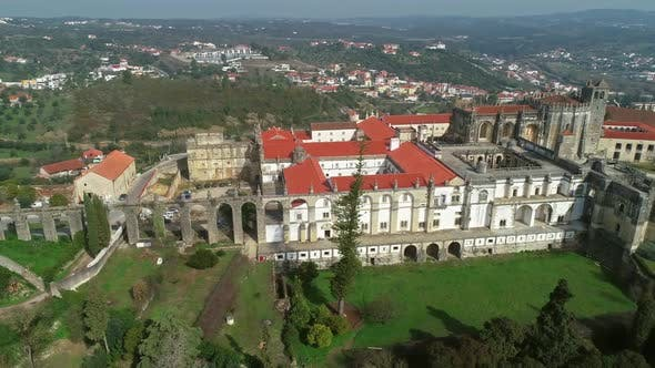 Aerial of Monastery Convent of Christ in Portugal