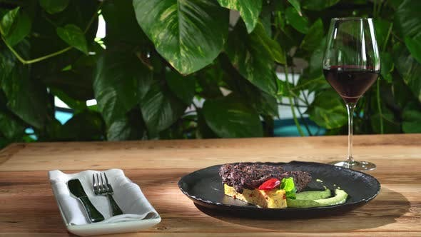 Thumbnail for Beef Steak with Cheese and Spinach Sauce.