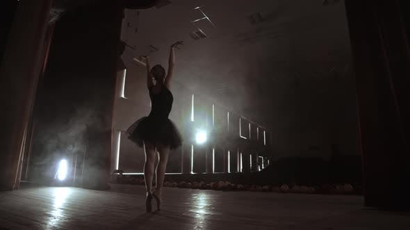 A Ballerina Dances in a Hall with Empty Seats