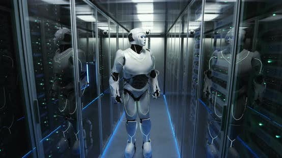 Thumbnail for Futuristic Android Robot Working in Server Room