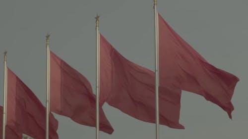 Drapeaux chinois rouges. Pékin. La Chine.  Asie