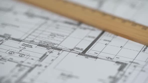 Thumbnail for Close-Up of Detailed Building Plan, Architecture Design, Construction Bureau