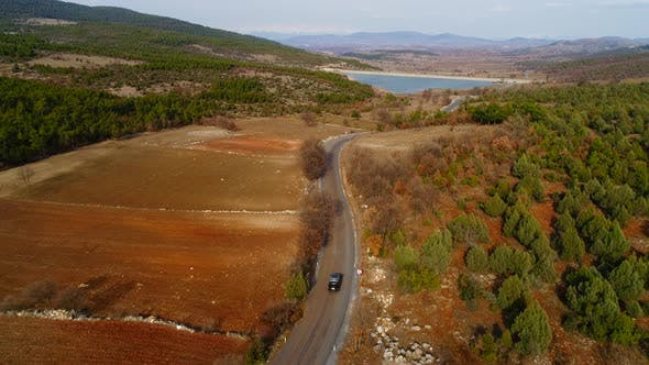 Cover Image for Aerial View Autumn Road