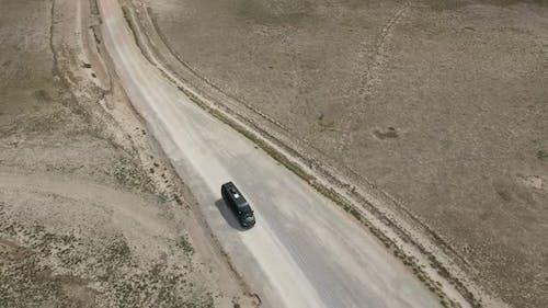 Following Black Van Aerial View