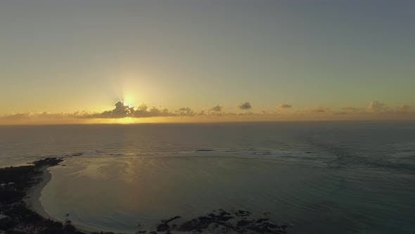 Thumbnail for Aerial View of Mauritius Coastline at Sunset