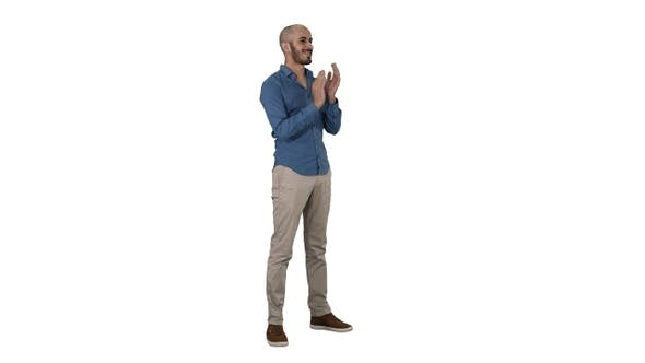 Cover Image for Handsom arab clapping his hands applauding on white background.