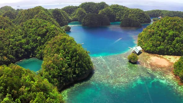 Thumbnail for Aerial View of Sugba Lagoon. Beautiful Landscape with Blue Sea Lagoon, National Park, Siargao Island