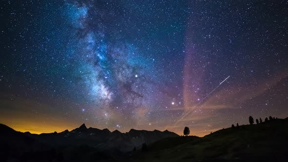 Thumbnail for Astro Time Lapse Milky Way Galaxy Stars Rotating Over the Alps