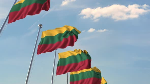 Thumbnail for Row of Waving Flags of Lithuania