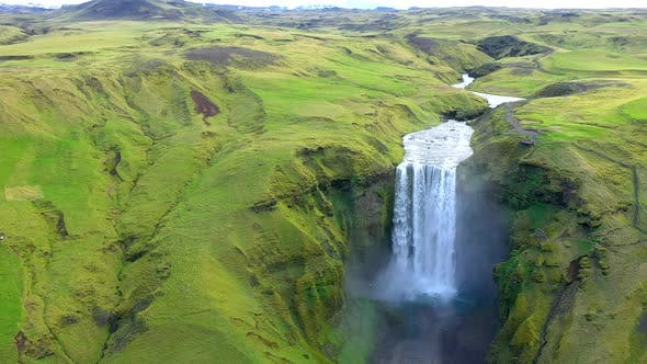 Thumbnail for Flying Over Skogafoss, Iceland's Famous Ring Road Waterfall