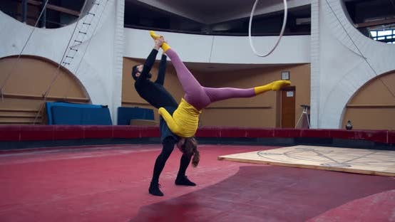 Circus Acrobats Are Performing During the Rehearsal Split Gymnastics
