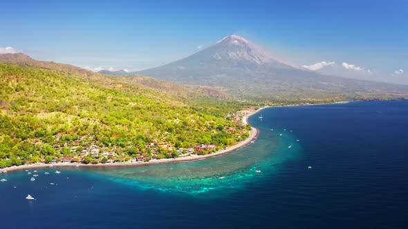 Thumbnail for Panoramic View of the Jemeluk Bay, Amed Village, the Agung Volcano Mountains and the Azure Sea in