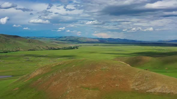 Thumbnail for Aerial View of Steppe and Mountains Landscape
