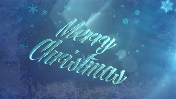 Abstract blue snow falling and animated closeup Merry Christmas text on shiny background
