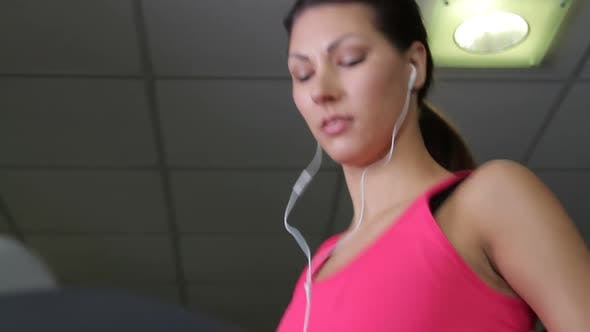 Thumbnail for Female running on treadmills, cardio workout exercise in gym