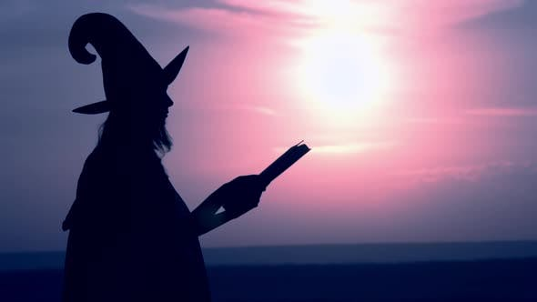 Thumbnail for Woman in a Witch Costume Holds Magic Book