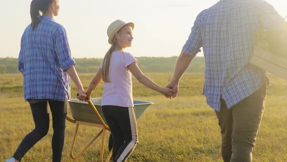 Happy Family in Agriculture