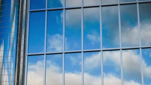 4K Video animation. Modern glass high-rise buildings.
