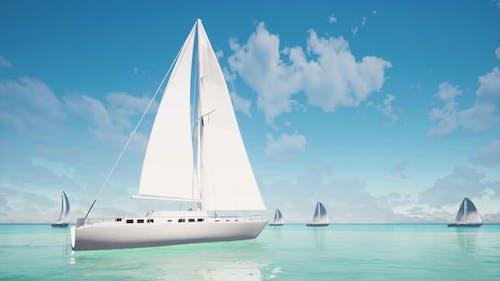 Segelboote auf dem Meer Luftaufnahme Schöne Natur Ozean Hintergrund