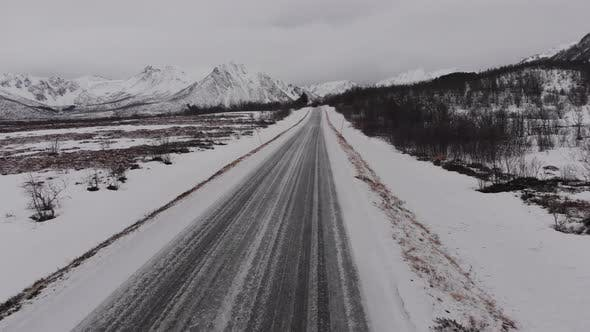 Thumbnail for Andoya drone over a frozen road