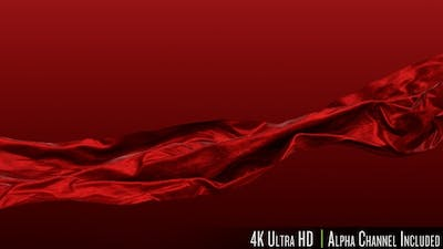 4K Red Satin Fabric Cloth Waving in the Wind with Alpha Channel