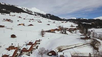 Aerial rustic buildings in Gstaad