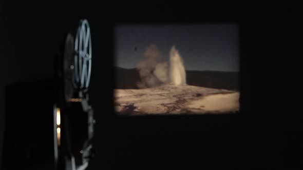 Thumbnail for Film of Old Faithful projected onto wall past projector