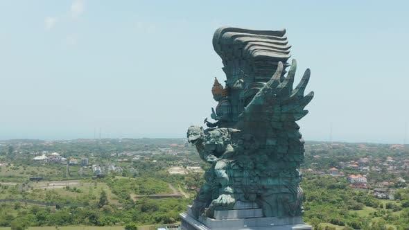 Aerial Shot Circling the Garuda Wisnu Kencana Statue in Bali Indonesia