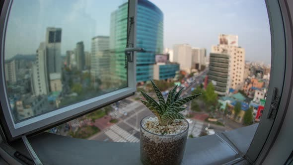 Cover Image for Timelapse of Busy Seoul City in South Korea, Window View