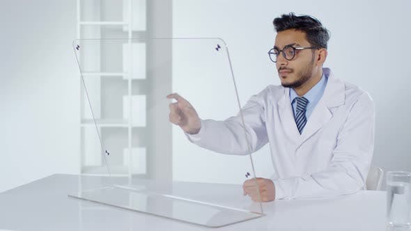 Thumbnail for Doctor Using PC with Transparent Display