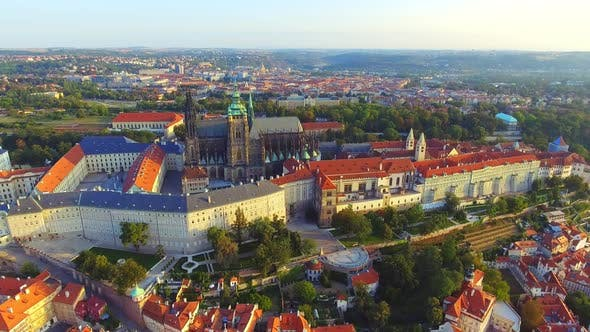 Thumbnail for Flight Over Prague Castle, President Residence, the City View From Above