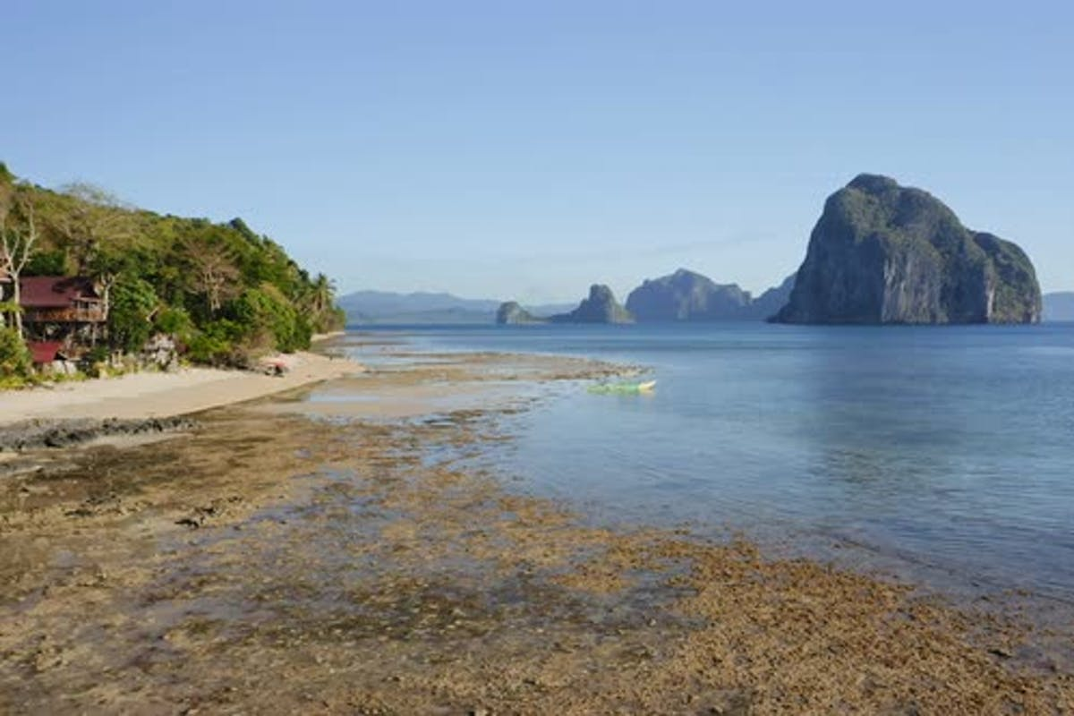 Aerial Fly Along Tropical Beach Of El Nido Village Palawan Philippines Tourists Relax And By Shunga Shanga On Envato Elements