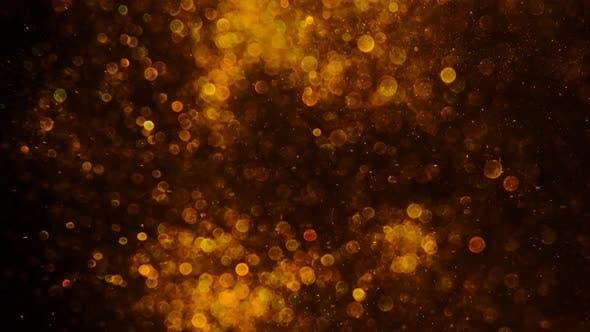 Gold Dust on Black Background Blur