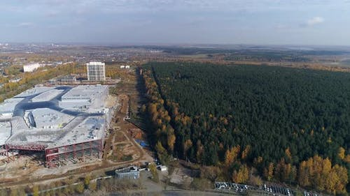 Aerial view of Construction of a shopping complex and an industrial building 07