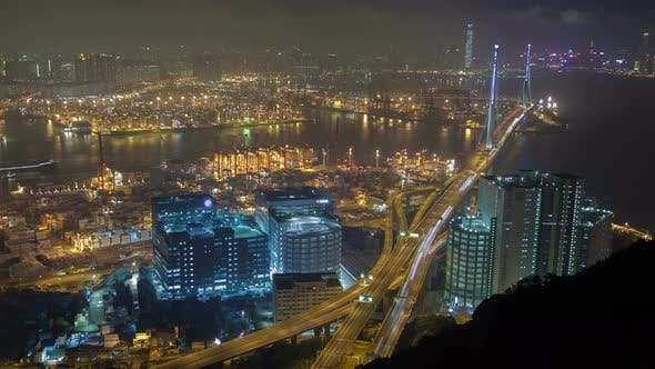 Thumbnail for Night  Sky View on Busy Container Terminal in Hong Kong