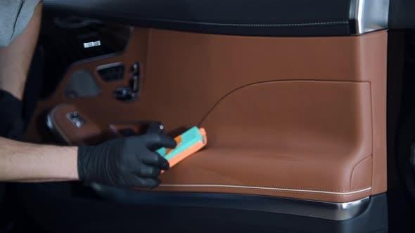 Closeup of Car Detailing Process